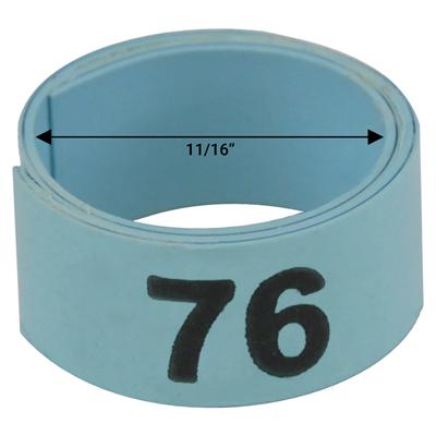 """Bague bleue numérotée de 11 / 16"""" (Numéro 76 à 100)"""